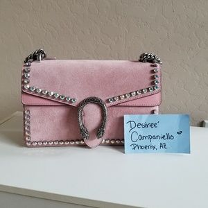 Authentic Gucci Pink Suede Crystal Dionysus Peony
